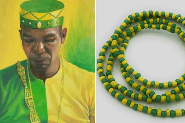 Collares de santería verde y amarillo significado